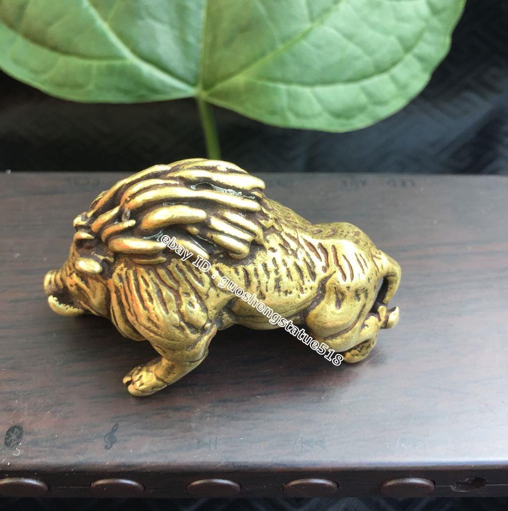 54MM Curio China Small Bronze Exquisite Animal Boar Wild Boar Sus Scrofa Statue