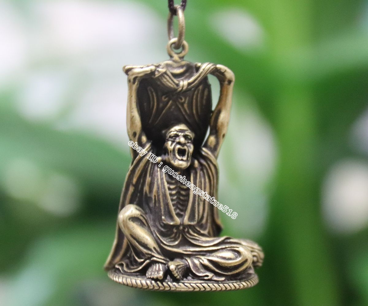 4.5 CM Chinese Pure Bronze monk/'s cane arhat eighteen Rohan lohan Buddha statue