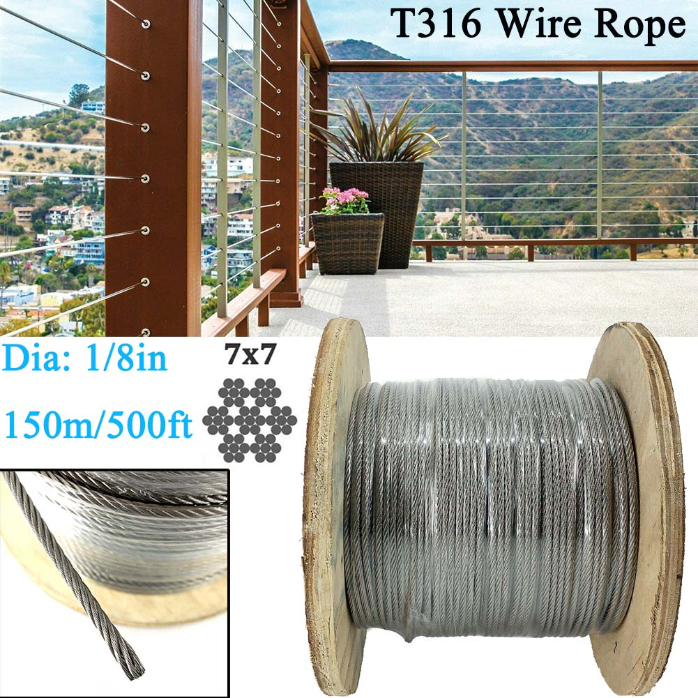 T316 Stainless Steel Cable 1//8Inch 7x7 Steel Wire Rope Cable 500ft Cable Railing