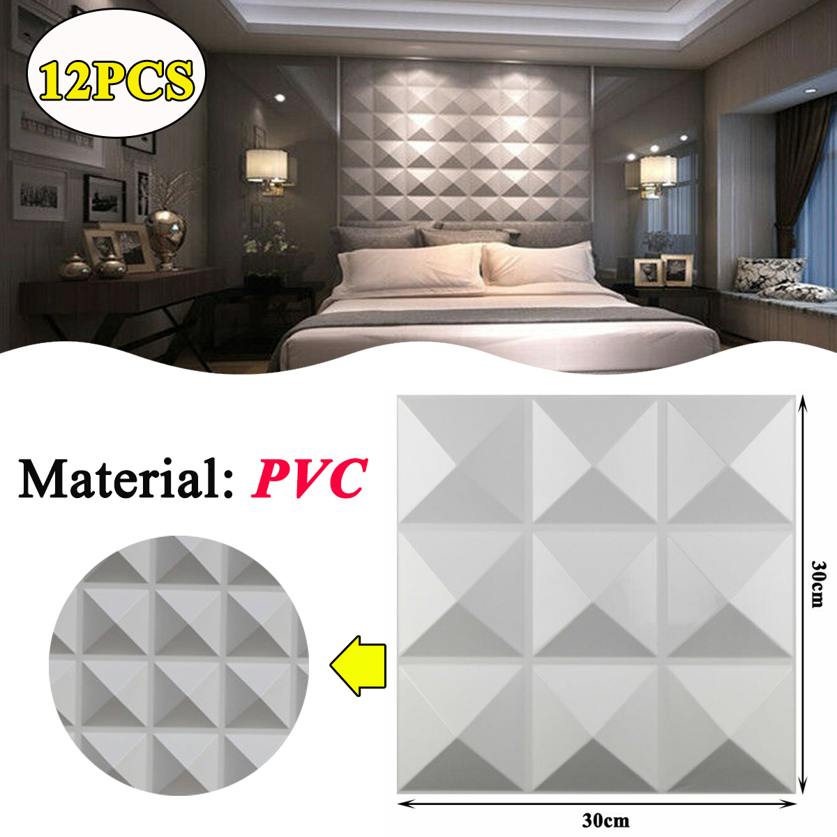 Pvc 3d Wall Panels White Textured Brick Effect Wall Decor 30cm 30cm Pack Of 12 Ebay