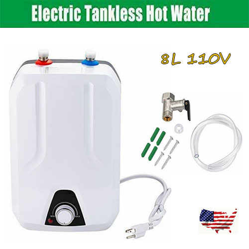 1500w 8L Tankless Instant Electric Hot Water Heater Set Bathroom Shower 110v NEW