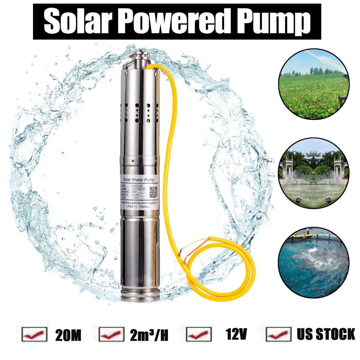 24VDC 2m3//H Solar Powered Submersible Bore Hole Deep Well Water Pump 20m Life