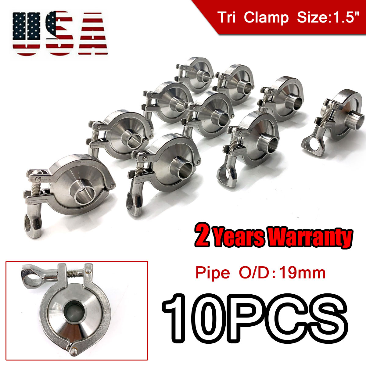 """10Pcs 1.5/"""" Clamp Clover for 50.5mm OD Ferrule Sanitary Stainless Steel SS304"""