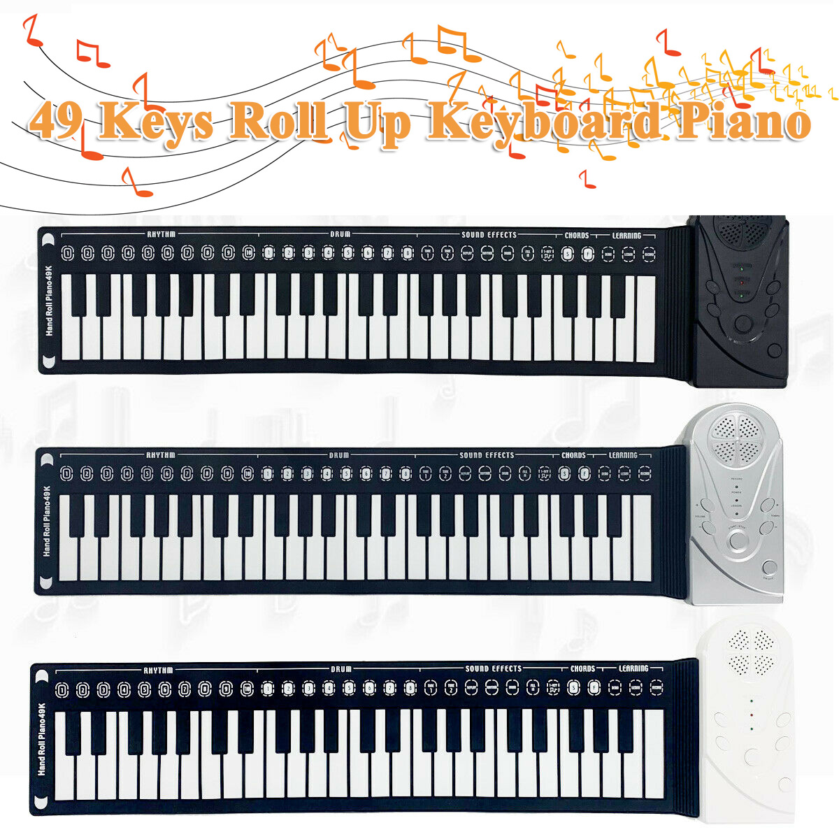 Electric Keyboard Piano 49 Keys Roll Up for Kids Music ...