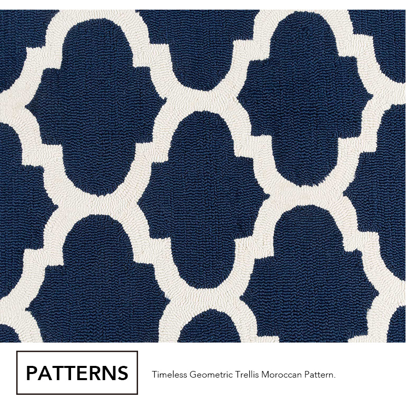 Extra Large Rug Navy Blue Ivory Indoor/outdoor Trellis