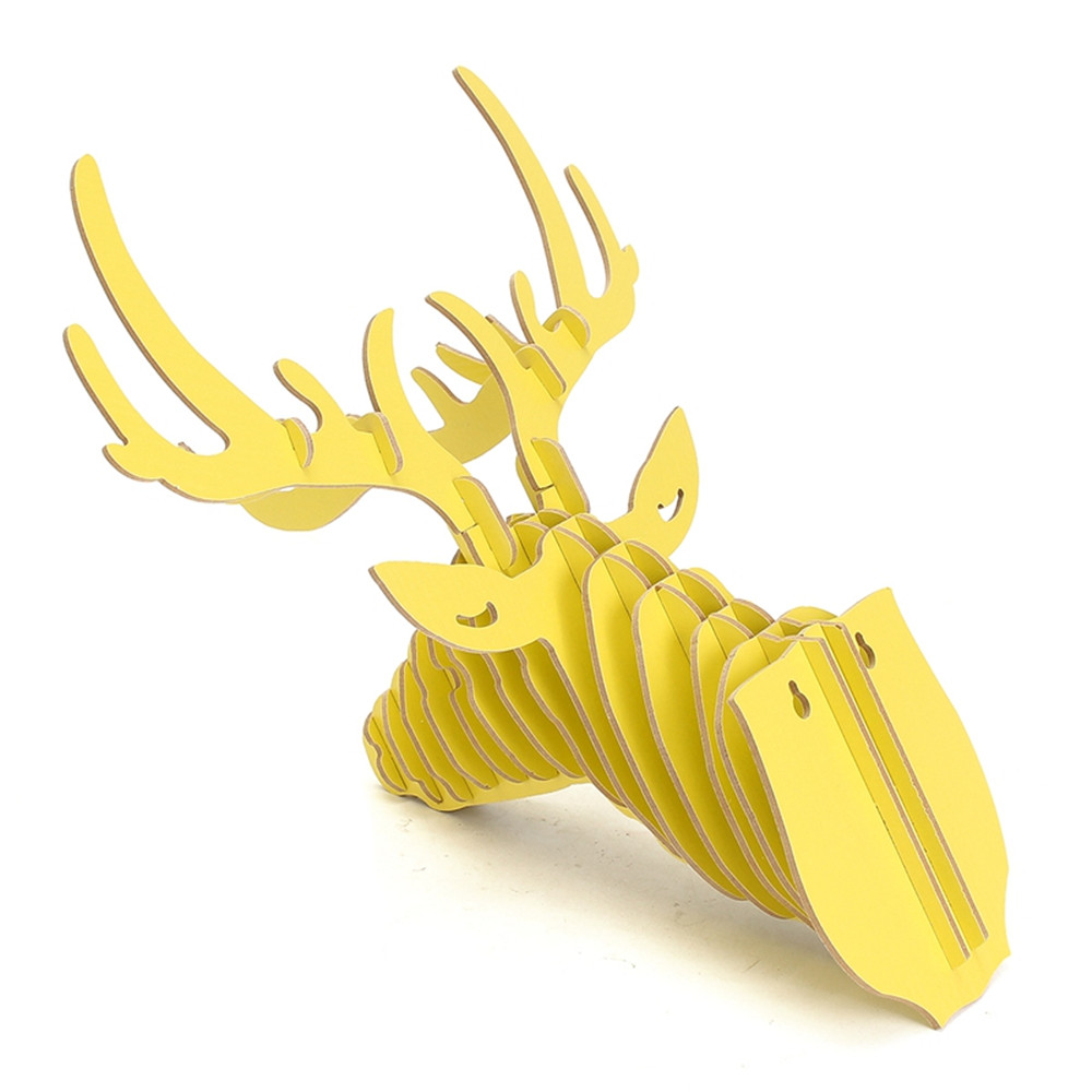 DIY 3D Wooden Animal Head Assembly Puzzle Art Model Kit Toy Home ...