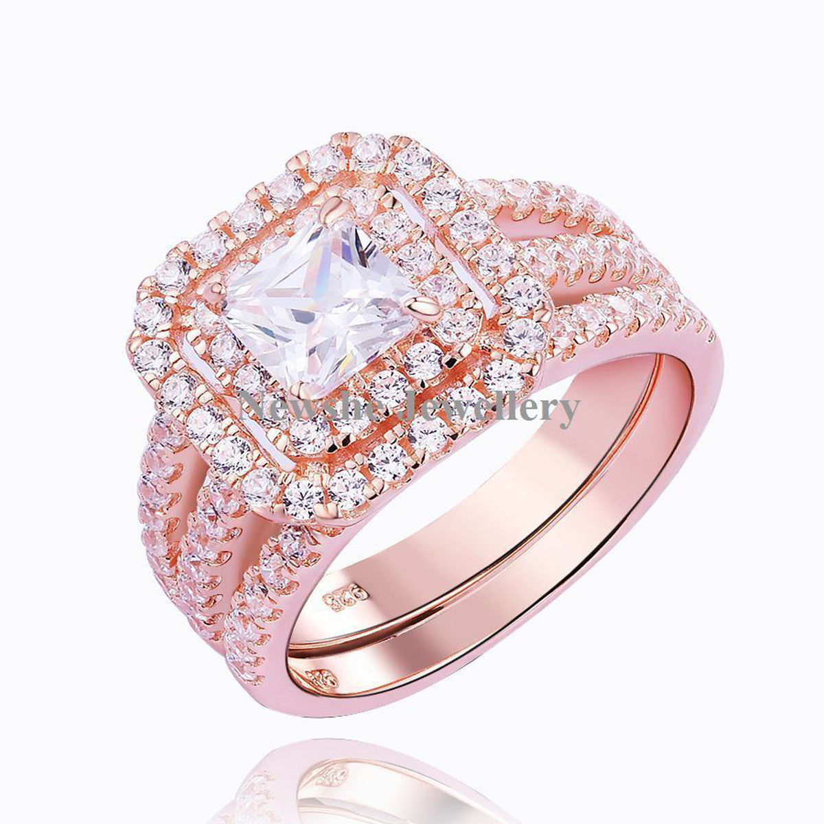2.20 Ct Princess White CZ 925 Sterling Silver Rose Gold Wedding Ring ...