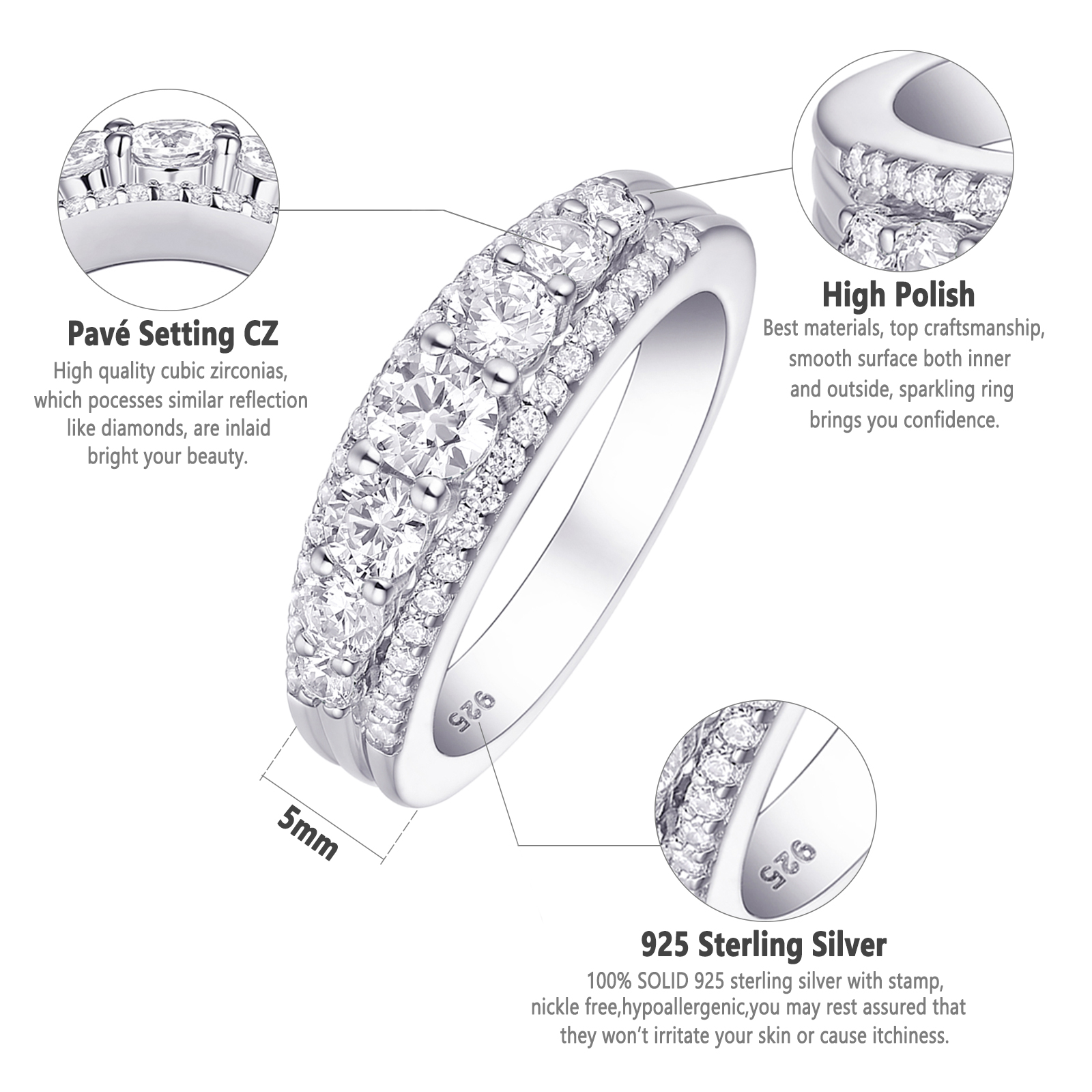 Newshe Wedding Band Eternity Ring 1.2Ct Round White Cz 925 Sterling Silver 5-12