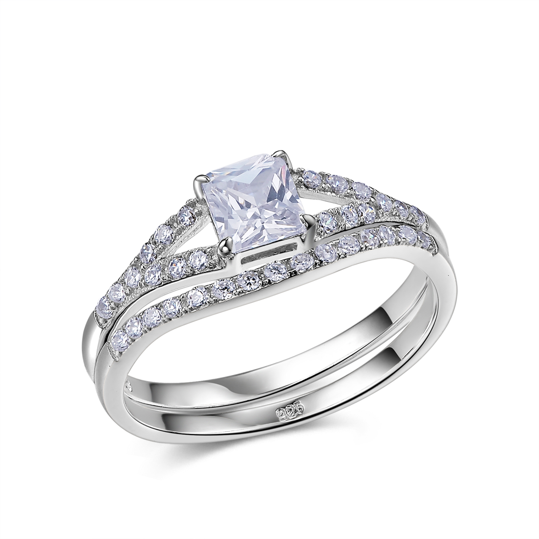 image is loading princess cut white aaa cz 925 sterling silver - Sterling Silver Wedding Ring Set