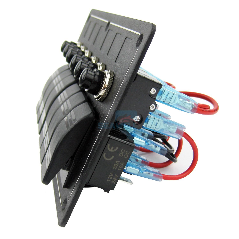 6 Gang Aluminium Led Rocker Switch Panel Marine Boat Circuit Breaker Wiring Waterproof