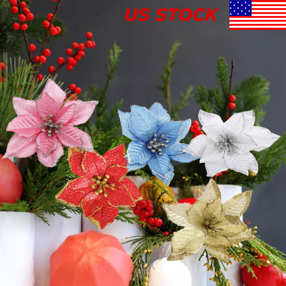 Details about 10 Pcs Glitter Poinsettia Flower Christmas Wreath Tree Decorations Xmas Gift US