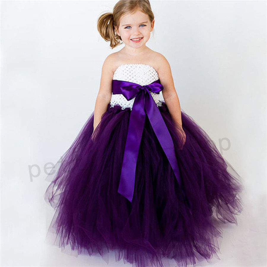 Kid Girl Baby Birthday Wedding Bridesmaid Gown Formal Dresses Party ...