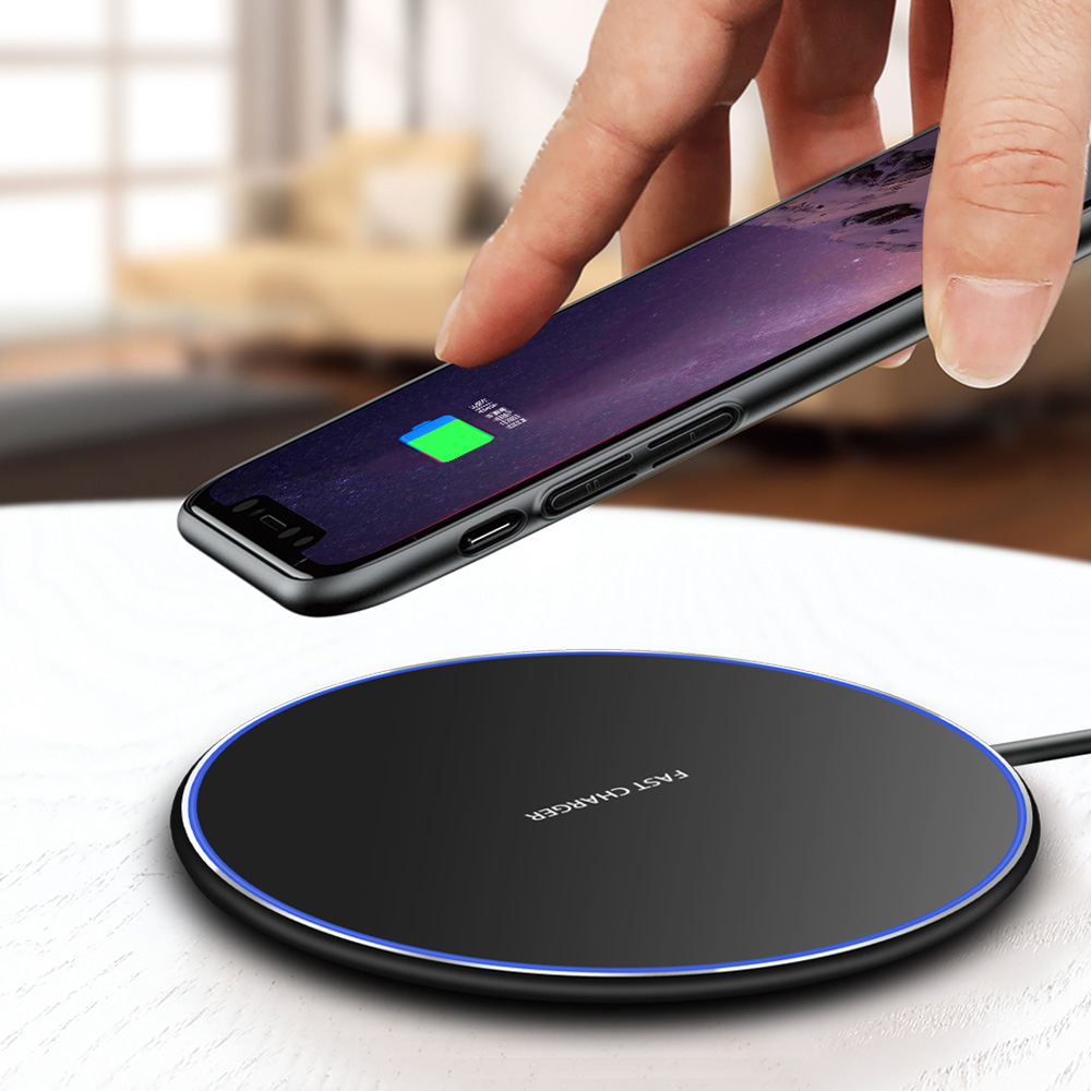 super popular d01fc 8b308 Details about US 10W Fast Charging Qi Wireless Charger Mat Pad for iPhone  XS Max Samsung S10+