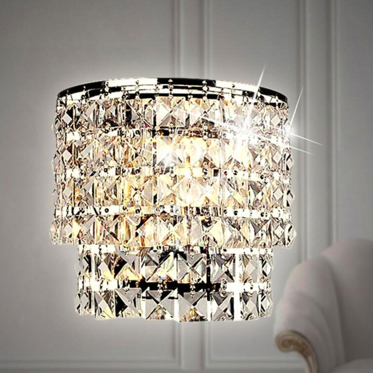 Willazzo 3 Light Round Polished Chrome Flush Crystal Acrylic with Champagne Drops Lights4Living W223RDPCCH