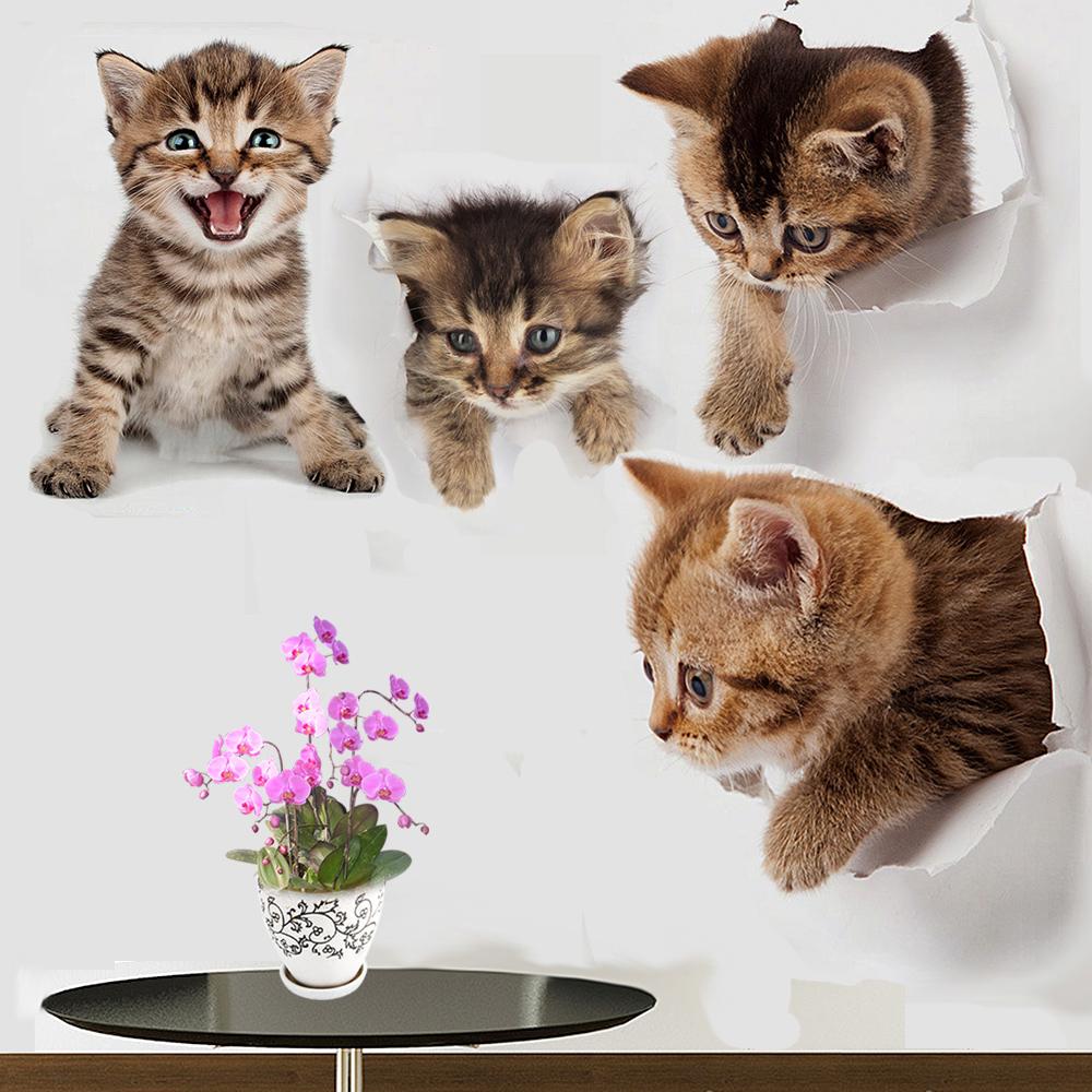 Cute 3D Kitten Cat Wall Sticker Vinyl Bedroom Fridge Decal Home Mural Art Decor