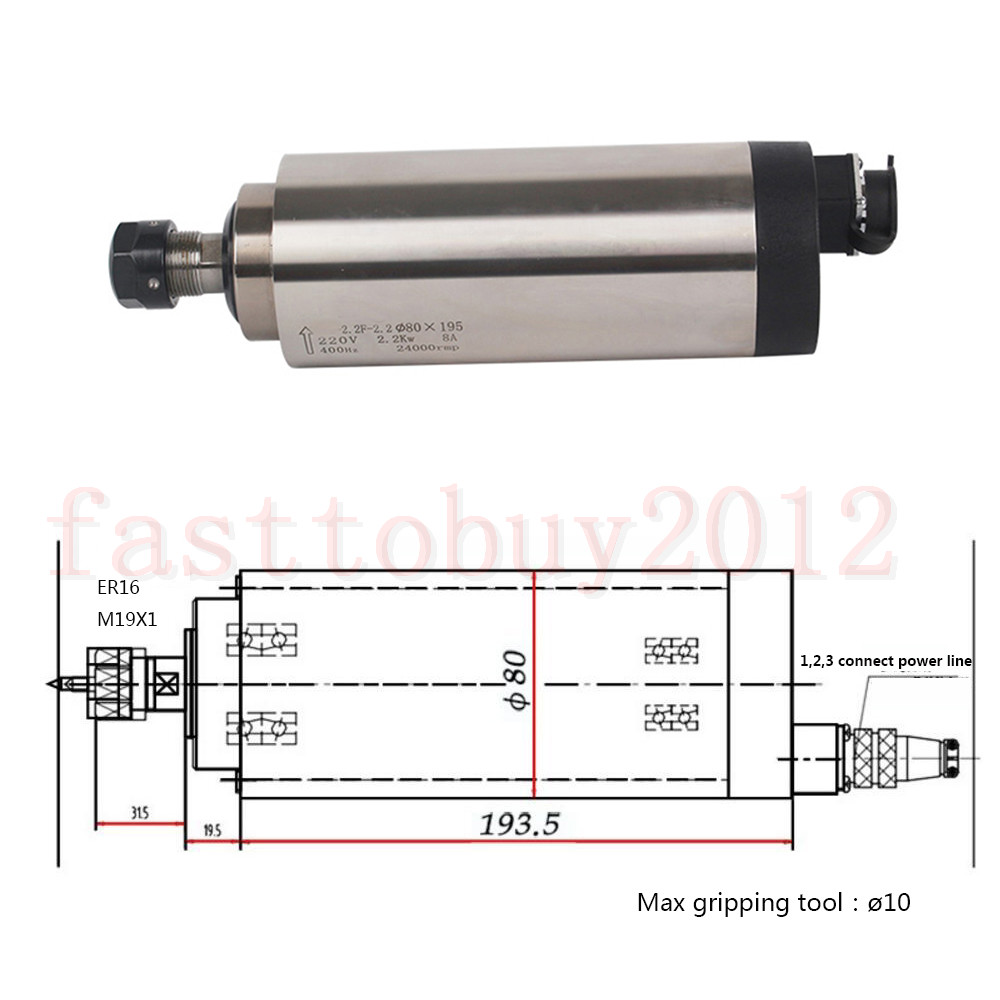 Spindle Motor 2.2KW ER16 CNC Air Cooled/&2.2KW VFD Drive Inventer/&Collets/&Bracket
