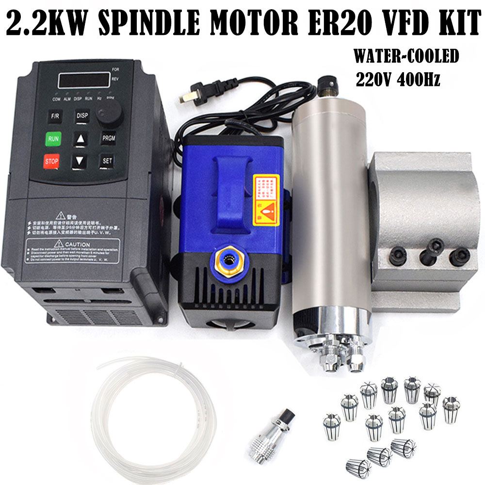 2.2KW Spindle Motor ER20 Air-cooled 4Bearing 24000RPM /& VFD Inverter Driver Set