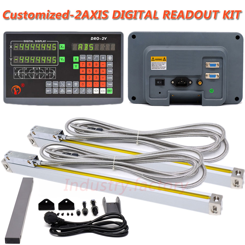 2pc TTL Linear Scale Bridgeport Milling Position Tool 2Axis Digital Readout DRO