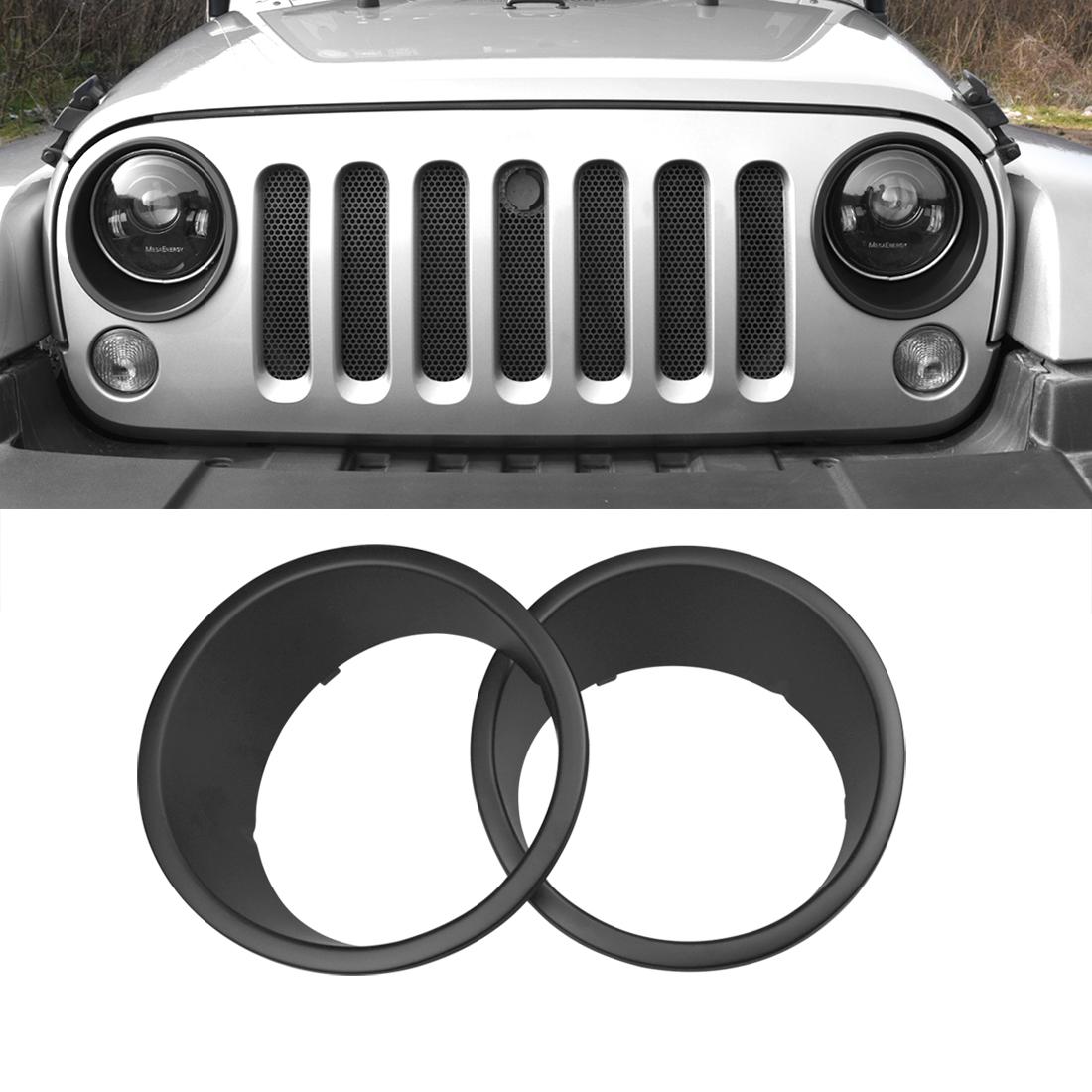 Hooke Road Matte Black Headlight Bezels Headlight Cover Trim for 2007-2018 Jeep Wrangler JK /& Wrangler Unlimited