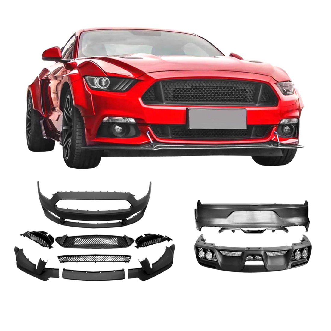 Details About Fit 15 17 Ford Mustang Body Kit Front And Rear Pers Gt350 Style Grille
