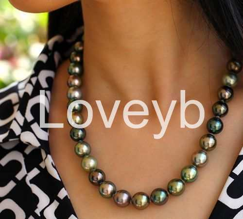 stunning 9-10mm tahitian multicolor round pearl necklace 18inch