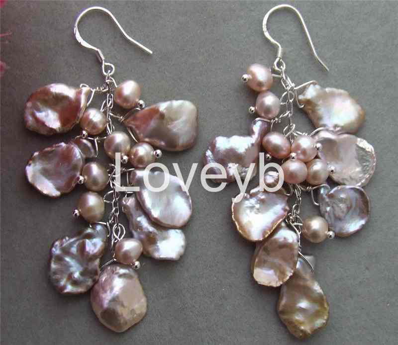 15MM Keshi Pearl South Sea baroque white Pearl Earrings 925 silve