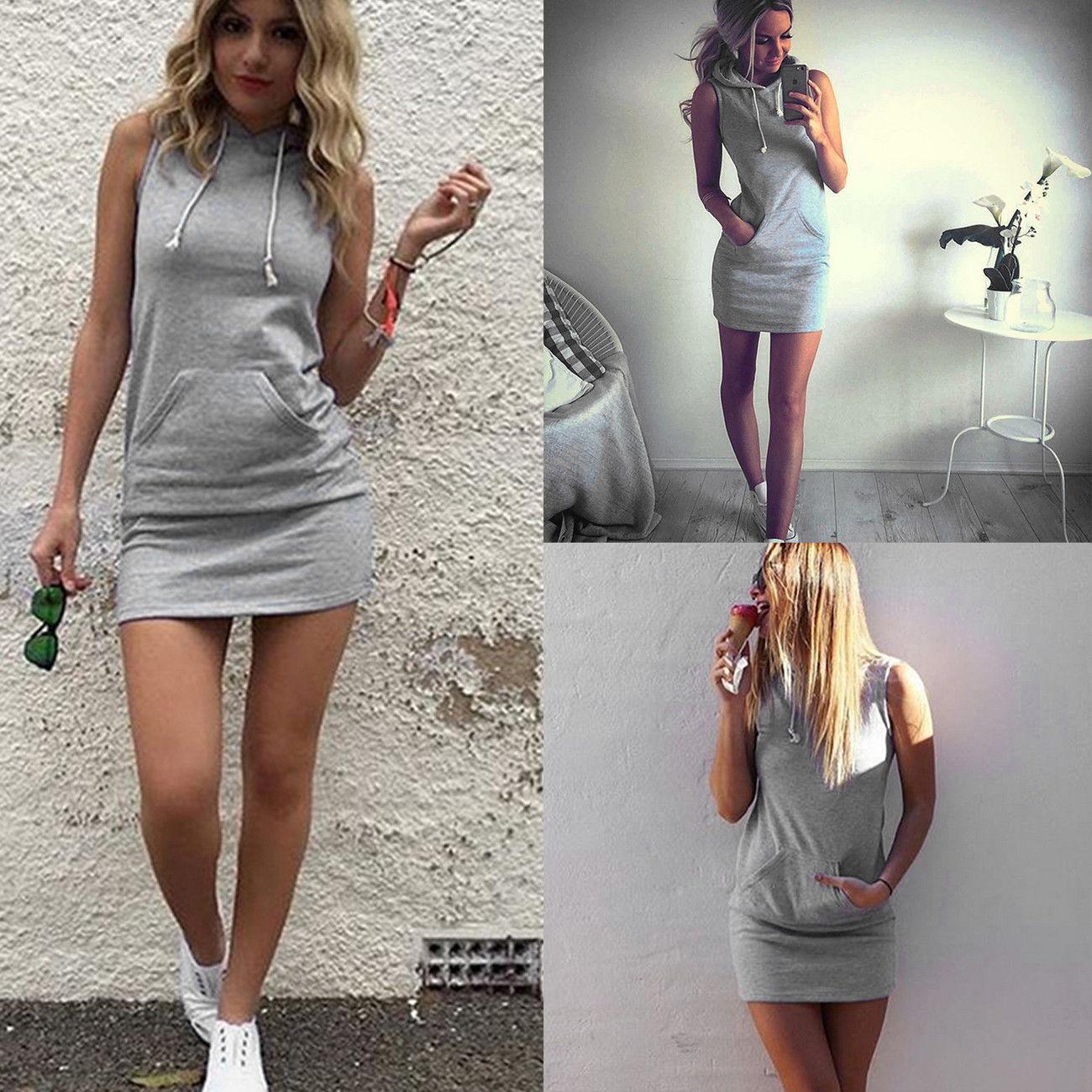2e9608c0078 UK Womens Slim Bodycon Summer Bandage Mini Dress Ladies Hoodie Tops Size  6-14