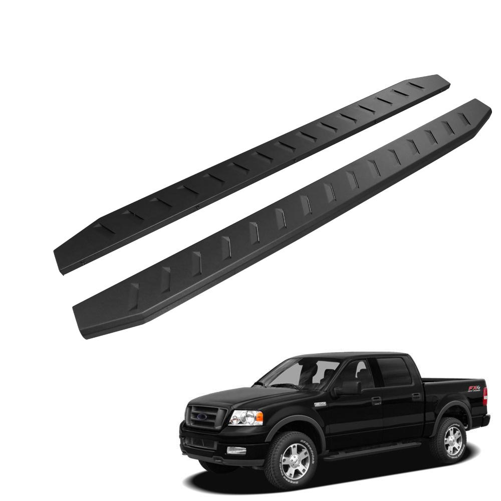 "4/"" Black Curved Running Boards  For 2004-2008 Ford F150 Super Cab Side Steps"