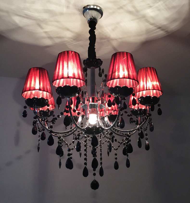 Details About Retro Style Black Crystal Chandelier Iron Candle Ceiling Lamp Living Room Lights