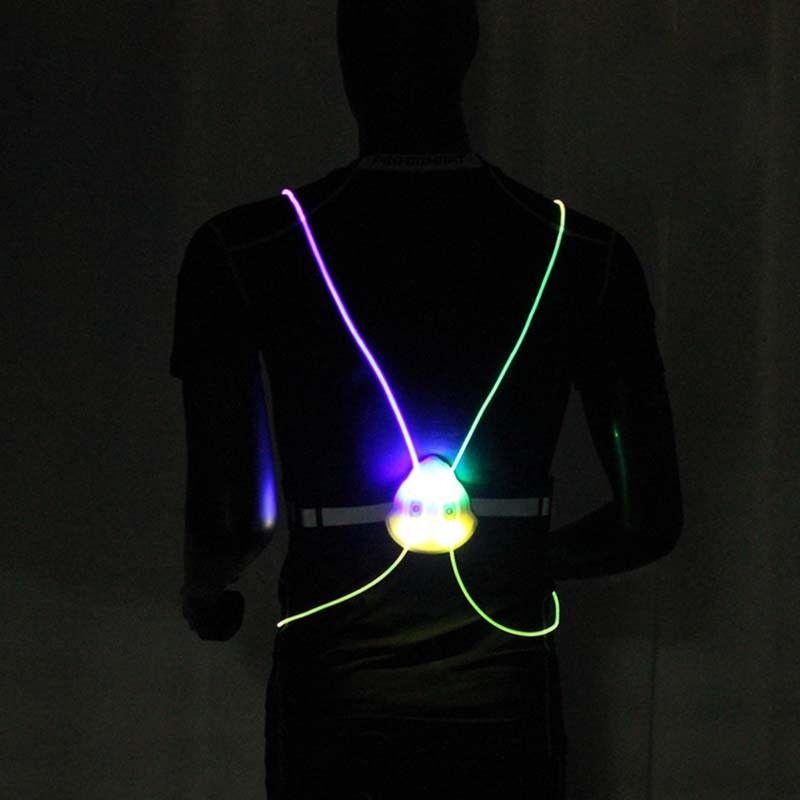 Flashing Motor LED Light Up Safety Reflective Vest Running Cycling Jacket Night
