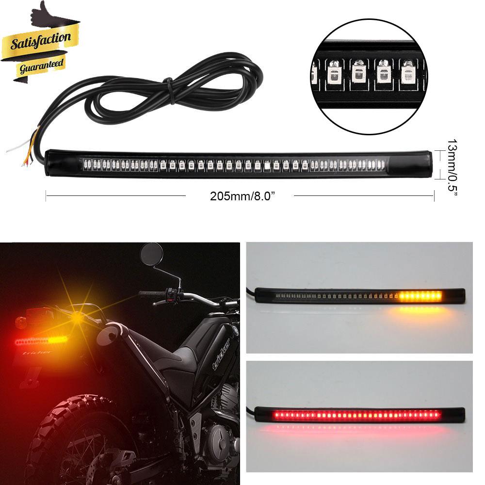 """8/"""" Flexible Motorcycle 48 LED Light Strip Rear Tail Brake Stop Turn Signal Lamp"""