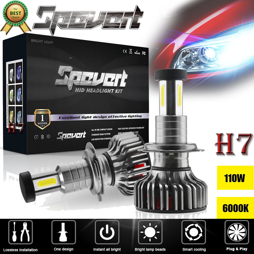 2pcs Cob Csp Chip 110w H7 Led Headlight Bulb Canbus Error Free 6000k 30000lm