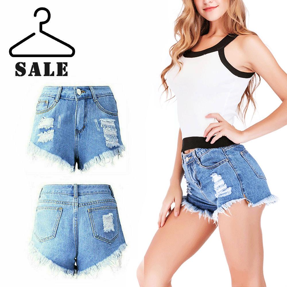 New Ladies Girls Stretch Hot Pants Hight Waist Jeans Shorts Denim Stretch UK6-16