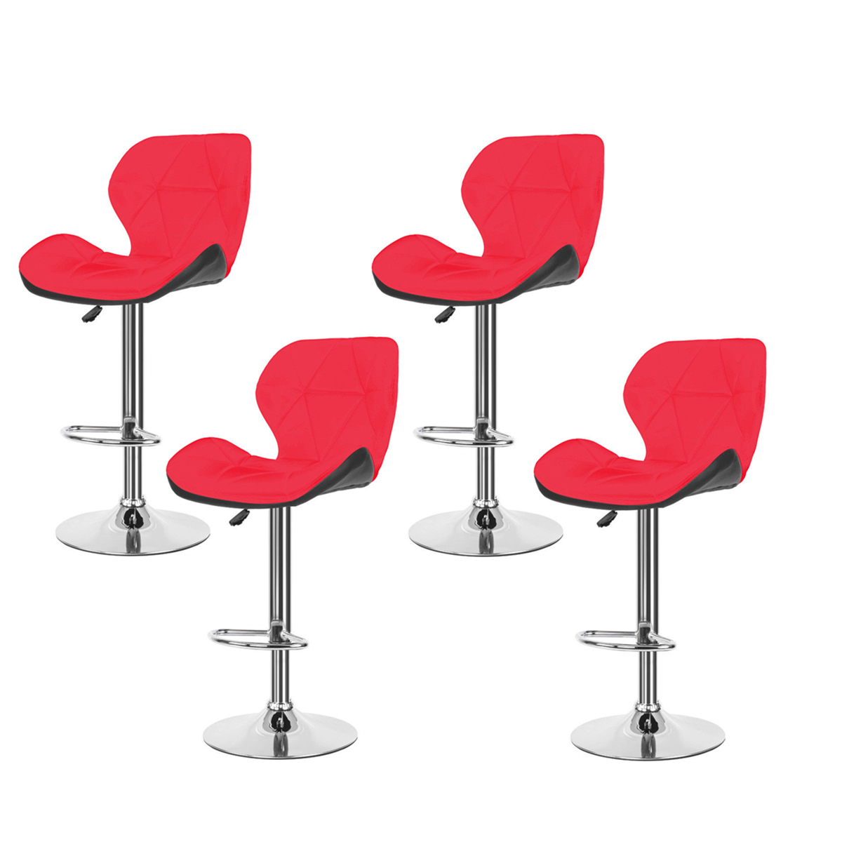 Prime Details About Set Of 4 Modern Bar Stool Pu Leather Seat Dining Chair Counter Kitchen Red New Camellatalisay Diy Chair Ideas Camellatalisaycom