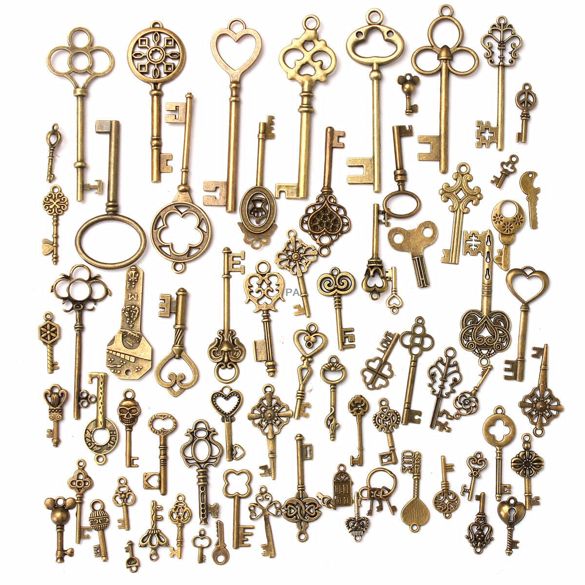 15x Antique Vintage Pendant Heart Bow Lock Steampunk Old Look Skeleton Key Set
