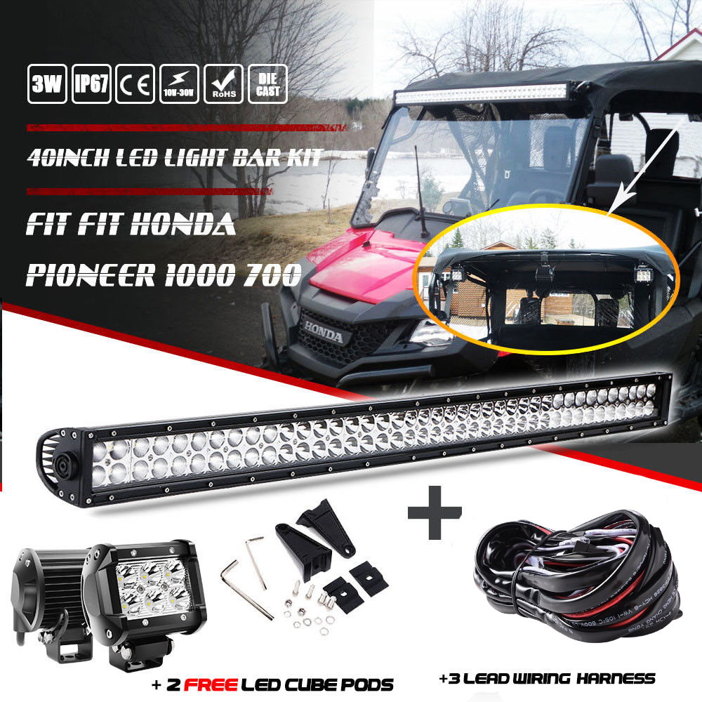 40 42inch Led Light Bar 2x 4 Cube Pods Wiring Fit Honda Harness Pioneer 1000 700