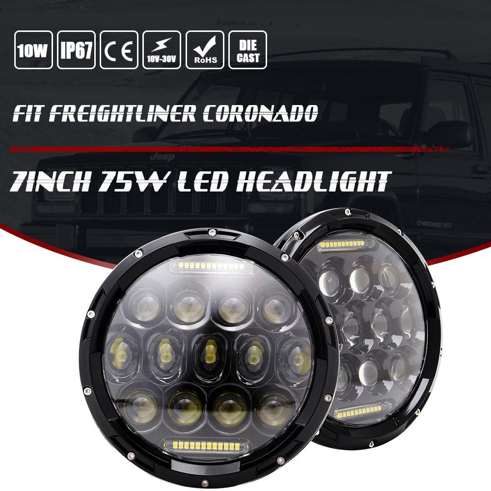 "7"" Inch 75W LED Headlamp Headlights Upgrade Kit FIT Freightliner CORONADO"