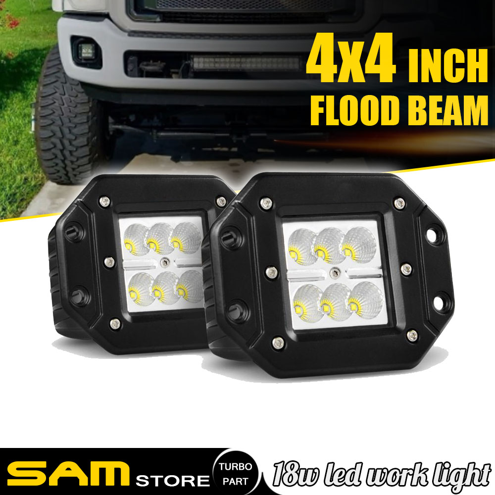 Pair  24W CREE Flood LED Work Light Flush Mount Offroad 4X4WD Truck Tractor Jeep