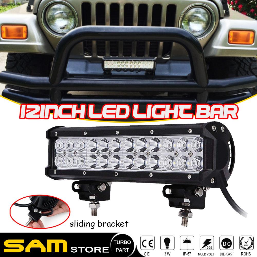 "12inch 72W+4/"" 18W LED Light Bar Work SPOT FLOOD CREE 4WD CAR ATV Wiring Kit 14"