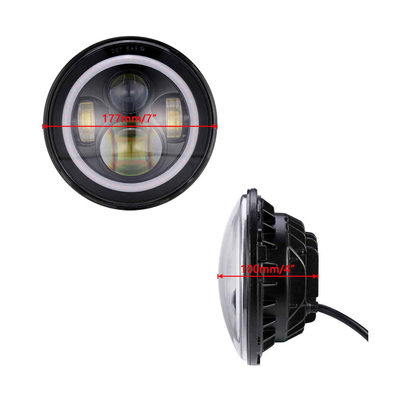 Cree 7 Inch Led Headlight Halo Angle Eye For 97 18 Jeep Wrangler Jk Cj7 Clock Wiring Lj Tj Cj Drl