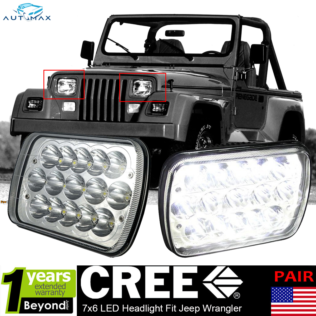 2x Led Headlights Upgrade Sealed Beam Headlamps For Jeep