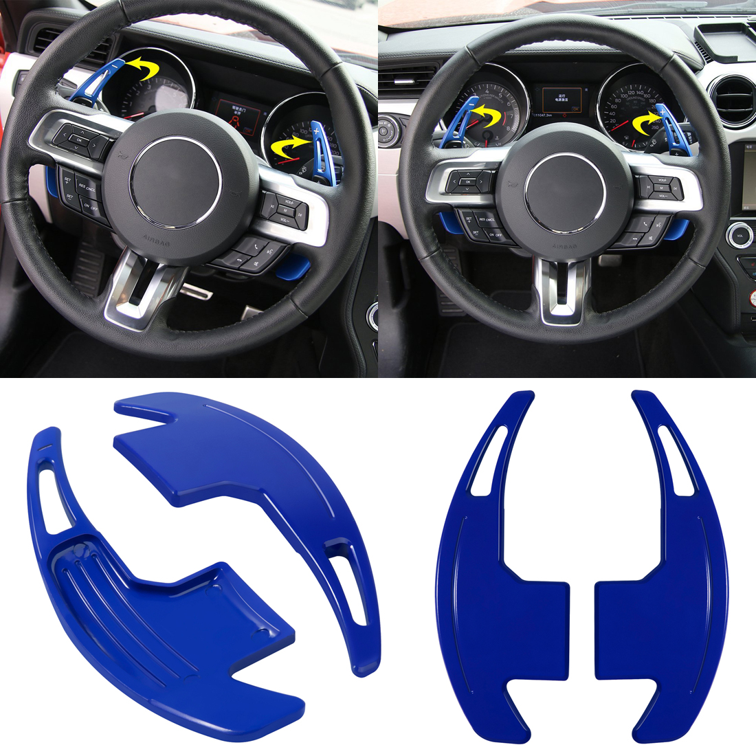 Blue Billet Aluminum Steering Shift Paddle Shifter Extension For Ford Mustang #y