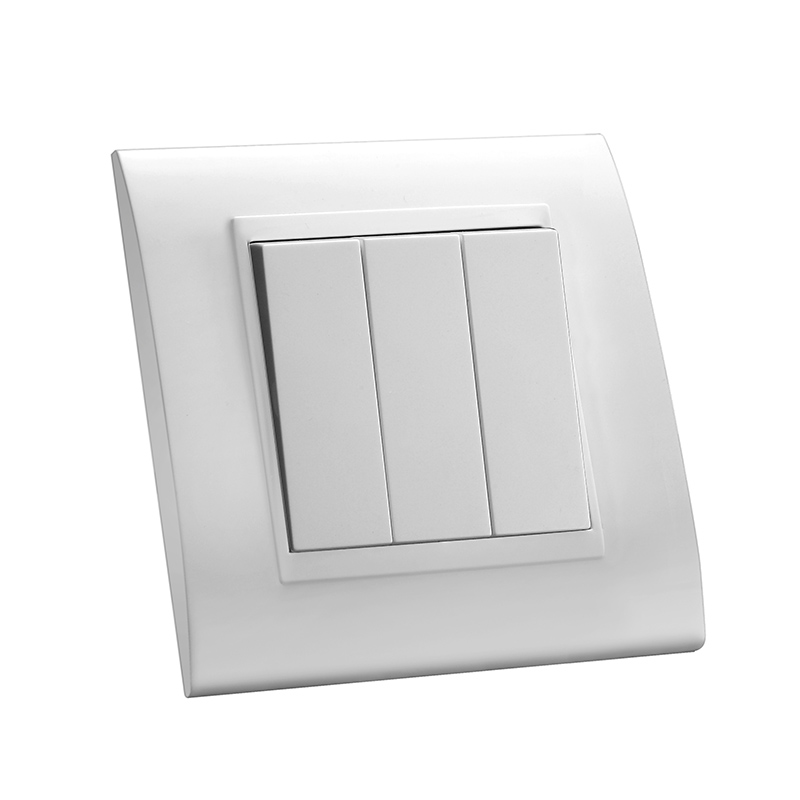 White 3 gang electrical push button wall light switch plastic panel luxury mvava 10a 3 gang 1 way home electrical push button wall light control switch with arc pc material panel ac110250v aloadofball Image collections