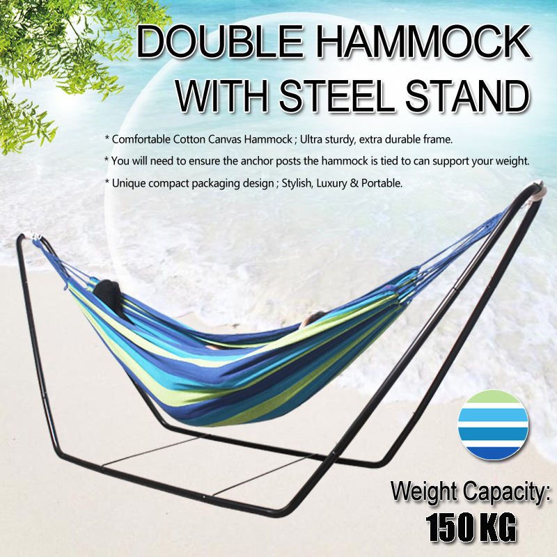 Outdoor Hammock Travel Camping Garden Foldable Stand Swing Hanging Bed with Bag