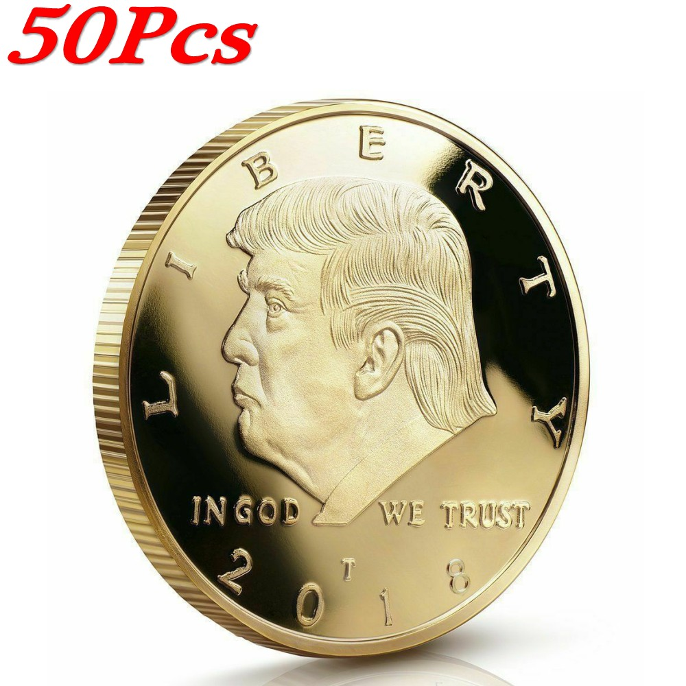 50pcs DONALD TRUMP Inauguration Gold Plated President EAGLE Coin Commemorative