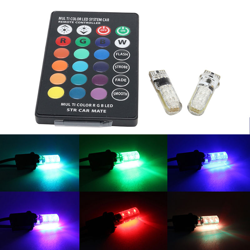 2XLED T10 W5W 501 RGB Car Colour Changing Wedge Side Bulbs Lights Remote Control