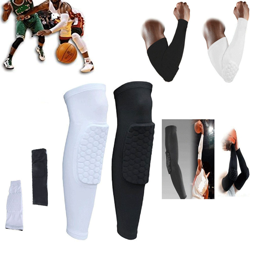 Men's Accessories Honeycomb Pad Crashproof Antislip Basketball Arm Hand Long Sleeve Protector Gear Men's Arm Warmers
