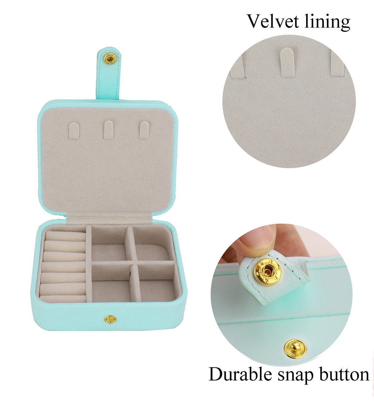 Portable Travel Jewelry Organizer Box Storage Case with Mirror