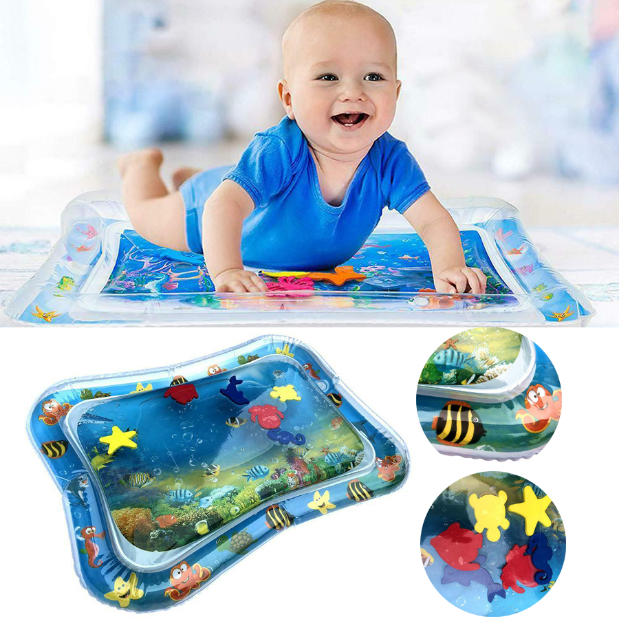 Kids Water Mat For Baby Infants Inflatable Toddlers Wet Mattress Splash Play UK