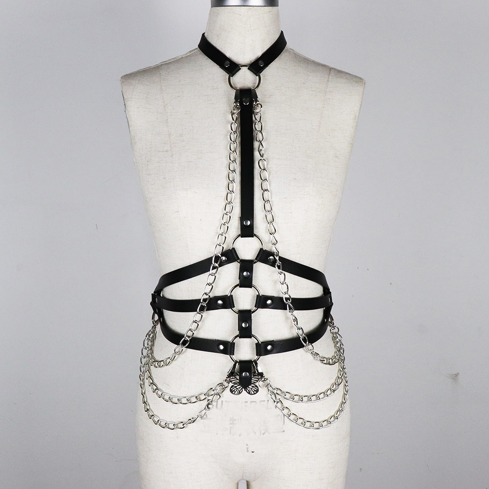 16ade7be93f Details about Women Sexy Leather Body Harness Bondage Chain Waist Belt  Strap Corset Bustier